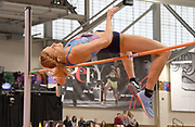 Feb 10, 2018; Boston, Massachussetts, USA; Erika Kinsey (SWE) wins the women's high jump at 6-3 1/4 (1.91) during the New Balance Indoor Grand Prix at Reggie Lewis Center.