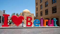 Signs I Love Beirut at new modern Beirut Souks retail development in Downtown Beirut, Lebanon