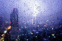 Raindrops on Window. Bangkok, Thailand