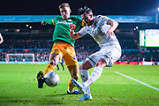 Leeds United midfielder Jack Harrison (22) and Preston North End midfielder Brad Potts (44) during the EFL Sky Bet Championship match between Leeds United and Preston North End at Elland Road, Leeds, England on 26 December 2019.