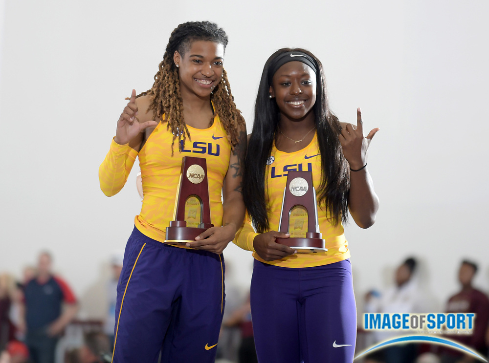Mar 10, 2018; College Station, TX, USA; Aleia Hobbs (left) and Mikiah Brisco of LSU pose after placing first and second in the women's 60m during the NCAA Indoor Track and Field Championships at the McFerrin Athletic Center.