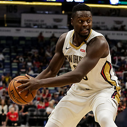 Oct 11, 2018; New Orleans, LA, USA; New Orleans Pelicans forward Julius Randle (30) against the Toronto Raptors during the second half at the Smoothie King Center. Mandatory Credit: Derick E. Hingle-USA TODAY Sports