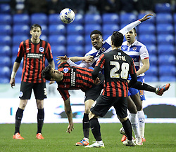 Brighton and Hove Albion's Emmanuel Ledesma and Brighton and Hove Albion's Biram Kayal challenge Reading's Nathaniel Chalobah - Photo mandatory by-line: Robbie Stephenson/JMP - Mobile: 07966 386802 - 10/03/2015 - SPORT - Football - Reading - Madejski Stadium - Reading v Brighton - Sky Bet Championship