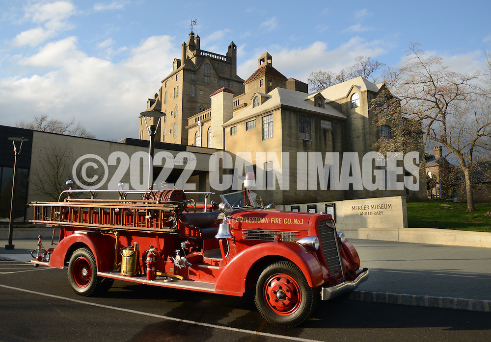 """An old Doylestown fire truck rests in front of the Mercer Museum during a special preview of the Mercer Museum's new exhibit """"To Save Our Fellow Citizens:"""" Volunteer Firefighting, 1800-1875 Thursday April 23, 2015 in Doylestown, Pennsylvania. The exhibit tells the exciting story Philadelphia's volunteer firefighters and fire companies as the city grew and expanded during the 1800's.  (Photo by William Thomas Cain/Cain Images)"""