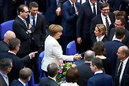 Bundeskanzlerin Angela Merkel (CDU) nimmt Glückwünsche von Alice Weidel (AfD) entgegen nach ihrer Wiederwahl zur Bundsekanzlerin  im Bundestag in Berlin. / 14032018,DEU,Deutschland,Berlin