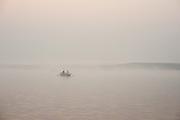 Boat on the Ganges river at Varanasi at dawn (India)