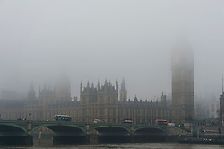 © Licensed to London News Pictures. 01/11/2015. London, UK.  Fog covering the Houses of Parliament next to the River Thames in Westminster on an early autumn morning.  Photo credit: Ben Cawthra/LNP