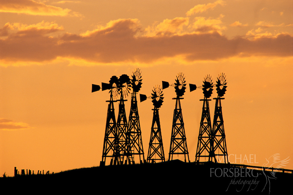 Nebraska Panhandle. Seven windmills stand tall at sunset on a hilltop on the Watson Ranch north of Scottsbluff. Symbols of the American West, windmills have harnessed the wind for over a century in the High Plains, bringing water to the surface for use by the people and livestock that live on that land.