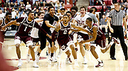 Texas A&M guard TJ Starks (2) reacts with teammates after he hit a game-winning running three point shot as time expired to beat Alabama 81-80 in Coleman Coliseum Saturday, Jan. 12, 2019. [Staff Photo/Gary Cosby Jr.]