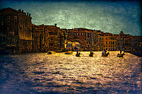 """Silhouette of Gondoliers against the late sun on the Grand Canal near the Church of Santa Maria del Giglio - Green Water""…<br />