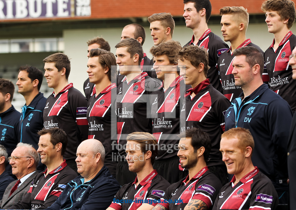 Somerset County Cricket Club 2014 squad sit for a picture during the media day at the County Ground, Taunton, Taunton<br /> Picture by Tom Smith/Focus Images Ltd 07545141164<br /> 31/03/2014