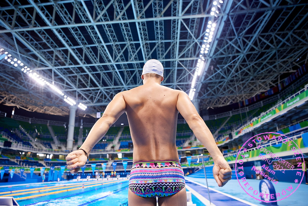 Rio de Janeiro, Brazil - 2016 September 2: Wojciech Makowski from Poland warms up during training session in Olympic Aquatics Stadium while 2016 Summer Paralympic Games on September 2, 2016 in Rio de Janeiro, Brazil.<br /> Rio 2016 Paralympic Games will be held from September 7 until 18.<br /> <br /> Adam Nurkiewicz declares that he has no rights to the image of people at the photographs of his authorship.<br /> <br /> Picture also available in RAW (NEF) or TIFF format on special request.<br /> <br /> Any editorial, commercial or promotional use requires written permission from the author of image.<br /> <br /> Mandatory credit:<br /> Photo by &copy; Adam Nurkiewicz / Mediasport
