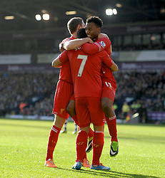 WEST BROMWICH, ENGLAND - Sunday, February 2, 2014: Liverpool's Daniel Sturridge celebrates scoring the opening goal against West Bromwich Albion during the Premiership match at the Hawthorns. (Pic by Chris Brunskill/Propaganda)