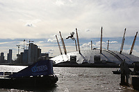 Travis Pastrana - World's First Motorcycle Backflip Between Two Barges, River Thames overlooking the O2, London UK, 05 October 2017, Photo by Richard Goldschmidt. Action sports icon and Nitro Circus ringleader Travis Pastrana made the world's first motorcycle backflip between two barges floating on the River Thames overlooking the O2.