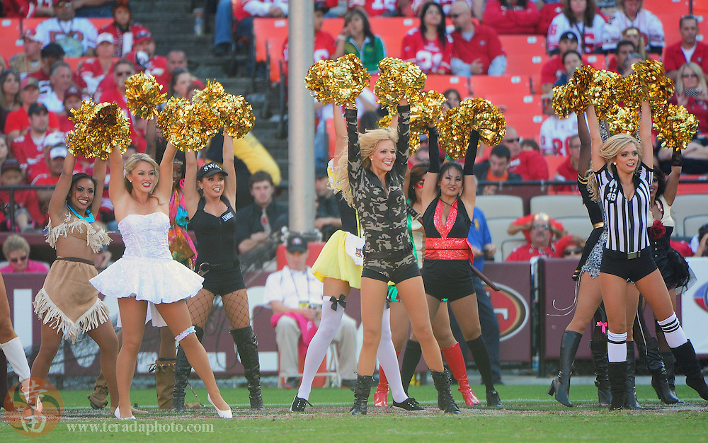 October 30, 2011; San Francisco, CA, USA; San Francisco 49ers Gold Rush cheerleaders perform in halloween costumes during the fourth quarter against the Cleveland Browns at Candlestick Park. The 49ers defeated the Browns 20-10.