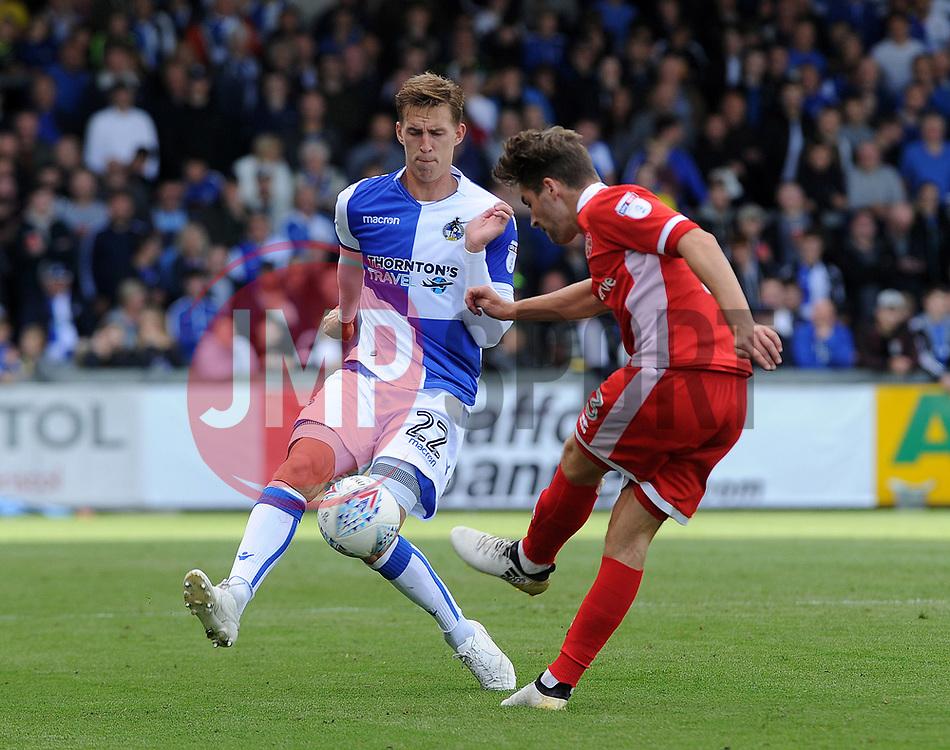 Joe Partington of Bristol Rovers challenges Luke Leahy of Walsall - Mandatory by-line: Neil Brookman/JMP - 09/09/2017 - FOOTBALL - Memorial Stadium - Bristol, England - Bristol Rovers v Walsall - Sky Bet League One