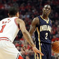 16 April 2011: Indiana Pacers point guard Darren Collison (2) brings the ball upcourt during the Chicago Bulls 104-99 victory over the Indiana Pacers, during the game 1 of the Eastern Conference first round at the United Center, Chicago, Illinois, USA.