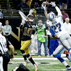 Dec 4, 2016; New Orleans, LA, USA; Detroit Lions free safety Glover Quin (27) breaks up a pass intended for New Orleans Saints wide receiver Brandin Cooks (10) during the second half of a game at the Mercedes-Benz Superdome. The Lions defeated the Saints 28-13.  Mandatory Credit: Derick E. Hingle-USA TODAY Sports
