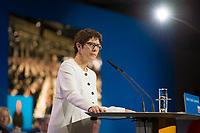 DEU, Deutschland, Germany, Berlin,26.02.2018: Die heute neu gewählte CDU-Generalsekretärin Annegret Kramp-Karrenbauer (CDU) bei Ihrer Rede auf dem Parteitag der CDU in der Station. Die Delegierten stimmten mit großer Mehrheit für die Neuauflage der Großen Koalition (GroKo).
