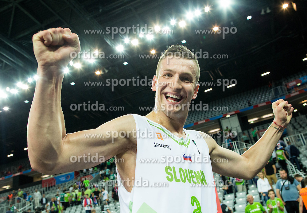 Alen Omic of Slovenia celebrates after winning during basketball match between Slovenia and Macedonia at Day 6 in Group C of FIBA Europe Eurobasket 2015, on September 10, 2015, in Arena Zagreb, Croatia. Photo by Vid Ponikvar / Sportida