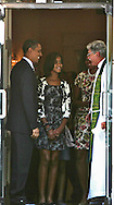 President Barack Obama, First Lady Michelle Obama and daught Malia Obama  talk to Rev Luis Leon after church service at St John's Episcopal Church on September 19, 2010. photo by Dennis Brack