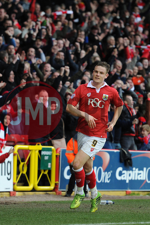 Caption Correction. Bristol City's Matt Smith celebrates his goal. - Photo mandatory by-line: Dougie Allward/JMP - Mobile: 07966 386802 - 14/02/2015 - SPORT - Football - Bristol - Ashton Gate - Bristol City v Sheffield United - Sky Bet League One
