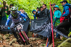 Jure Zabjek during mans elite run at Mercedes-Benz UCI Mountain Bike World Cup competition in Bike Park Pohorje, Maribor on 27th of April, 2019, Slovenia.  . Photo by Grega Valancic / Sportida