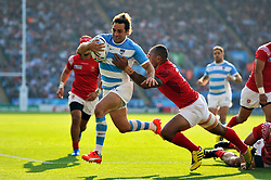 Nicolas Sanchez of Argentina scores a try in the second half - Mandatory byline: Patrick Khachfe/JMP - 07966 386802 - 04/10/2015 - RUGBY UNION - Leicester City Stadium - Leicester, England - Argentina v Tonga - Rugby World Cup 2015 Pool C.
