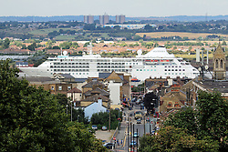 © Licensed to London News Pictures. 17/08/2015.  A large cruise ship has sailed up the Thames for a short visit to London. Silver Cloud, seen passing the Kent town of Gravesend here, is 157 metres long and operated by Silverseas. She will be moored alongside HMS Belfast until Wednesday morning. Credit : Rob Powell/LNP