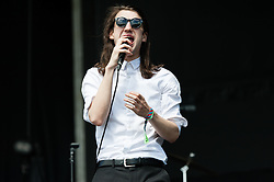© Licensed to London News Pictures. 06/06/2015. London, UK.   Spector performing live at Field Day Festival Saturday Day 1.  In this picture - Frederick Macpherson.  Spector is a four-piece indie rock band from London,composed of Frederick Macpherson (vocalist previously of Les Incompétents and Ox.Eagle.Lion.Man), Thomas Shickle (bass), Jed Cullen (synth, guitar) and Danny Blandy (drums) Photo credit : Richard Isaac/LNP