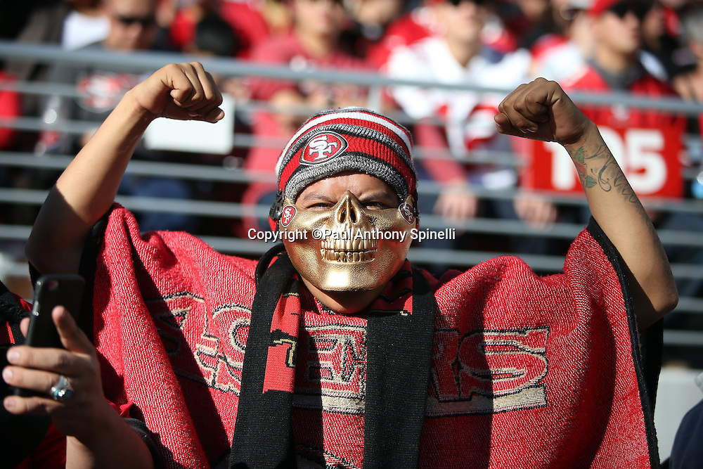 A San Francisco 49ers fan with a team logo face mask, hat, and parka cheers for the team during the San Francisco 49ers 2015 week 12 regular season NFL football game against the Arizona Cardinals on Sunday, Nov. 29, 2015 in Santa Clara, Calif. The Cardinals won the game 19-13. (©Paul Anthony Spinelli)