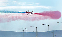 The Red arrows fly over Salthill during the Airshow in Galway. Photo;Andrew Downes.
