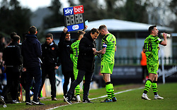 Forest Green Rovers manager Mark Cooper gives instructions to Carl Winchester of Forest Green Rovers- Mandatory by-line: Nizaam Jones/JMP - 08/02/2020 - FOOTBALL - New Lawn Stadium - Nailsworth, England - Forest Green Rovers v Walsall - Sky Bet League Two