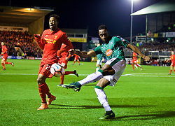 PLYMOUTH, ENGLAND - Wednesday, January 18, 2017: Plymouth Argyle's Jordan Slew in action against Liverpool's Divock Origi during the FA Cup 3rd Round Replay match at Home Park. (Pic by David Rawcliffe/Propaganda)