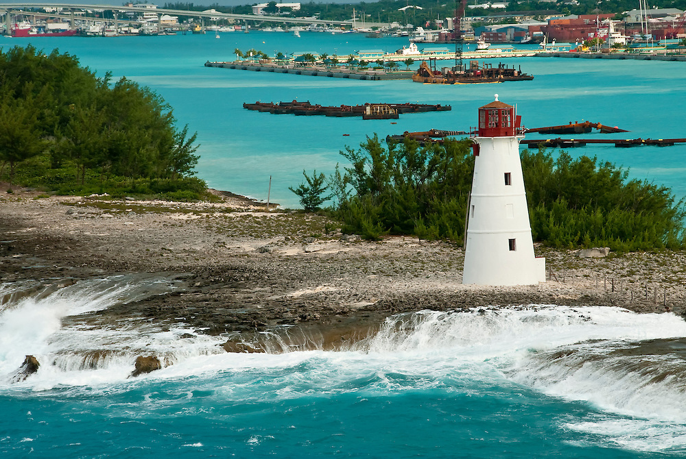 View of lighthouse in Nassau, Bahamas with the seaport in the back.