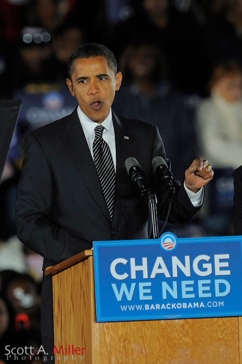 Oct 29, 2008; Kissimmee, Florida: Democratic presidential hopeful Barack Obama, speaks at a rally at Osceola Heritage Park in Kissimmee, Florida...© 2008 Scott A. Miller