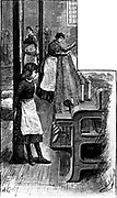 Small girl minding the spools to see that all runs smoothly on machine winding cotton thread on bobbins for use in making Nottingham machine lace.  Wood engraving, 1884