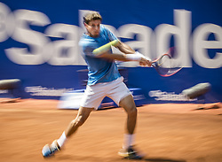 April 28, 2018 - Barcelona, Catalonia, Spain - PABLO CARRENO BUSTA (ESP) returns the ball to Stefanos Tsitsipas (GRE) in their semi-final of the 'Barcelona Open Banc Sabadell' 2018.  Tsitsipas won 7:5, 6:3 (Credit Image: © Matthias Oesterle via ZUMA Wire)