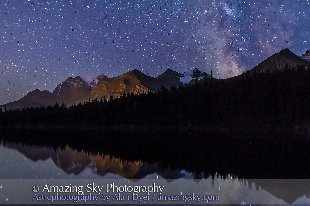 The Milky Way over Herbert Lake, Banff, Alberta, near Lake Louise. Mount Temple is glacier-clad peak at left. A single exposure of 40 seconds at f/2 with the 24mm lens and Canon 7D at ISO 640. Taken Sept. 7, 2012. No Moon.