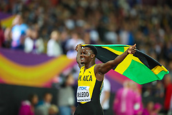 London, 2017 August 07. Omar McLeod, Jamaica, celebrates his victory in the Men's 110m hurdles final on day four of the IAAF London 2017 world Championships at the London Stadium. © Paul Davey.