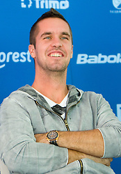 Player Luka Gregorc at press conference of Slovene Tennis Association after Slovenia defeated Lithuania  and qualified for Davis Cup Europe/Africa Group I , on September 20, 2010,  in TC Ljubljana Siska, Slovenia.  (Photo by Vid Ponikvar / Sportida)