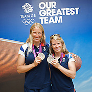 Olympics London 2012 <br /> Team GB Press Conference<br /> 12th August 2012 <br /> at Team GB HOuse, Stratford, London, Great Britain <br /> <br /> <br /> Hannah Mills and Saskia Clark  <br /> silver medal <br />  sailing <br /> in the 470 dinghy class<br /> <br /> <br /> <br /> Photograph by Elliott Franks