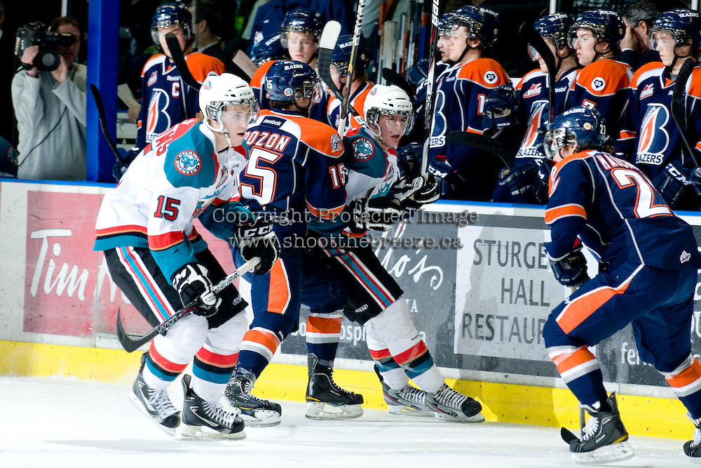 KELOWNA, CANADA, JANUARY 25: Colton Sissons #15 and Tanner Moar #23 of the Kelowna Rockets skate on the ice as the Kamloops Blazers visit the Kelowna Rockets on January 25, 2012 at Prospera Place in Kelowna, British Columbia, Canada (Photo by Marissa Baecker/Getty Images) *** Local Caption ***