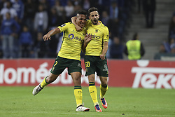 October 21, 2017 - Porto, Porto, Portugal - Pacos Ferreira's Brazilian forward Welthon (L) celebrates after scoring goal with teammate Pacos Ferreira's Portuguese midfielder Antonio Xavier (R) during the Premier League 2017/18 match between FC Porto and FC Pacos de Ferreira, at Dragao Stadium in Porto on October 21, 2017. (Credit Image: © Dpi/NurPhoto via ZUMA Press)