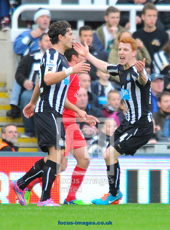 Jack Colback of Newcastle United (right) gesticulates towards the referee after missing a chance during the Barclays Premier League match at St. James's Park, Newcastle<br /> Picture by Greg Kwasnik/Focus Images Ltd +44 7902 021456<br /> 01/11/2014