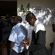 February 26, 2012 - Dakar, Senegal: People queue for voting in the senegalese presidential elections at a polling station in Franco-Arab School in Point E area of Dakar. Hundreds arriving for voting in the early hours. (Paulo Nunes dos Santos/Polaris)