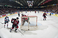 KELOWNA, BC - JANUARY 26: Bowen Byram #44 skates with the puck behind the net of Trent Miner #31 of the Vancouver Giants against the Kelowna Rockets at Prospera Place on January 26, 2019 in Kelowna, Canada. (Photo by Marissa Baecker/Getty Images)