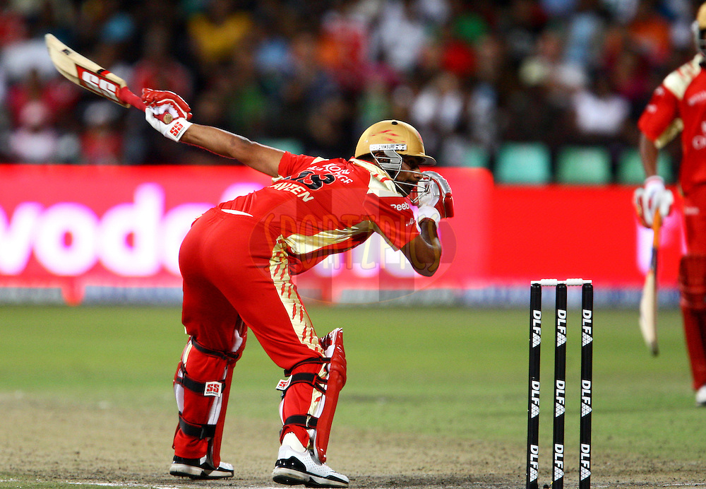 DURBAN, SOUTH AFRICA - 1 May 2009.Praveen whatched were this one went during the IPL Season 2 match between Kings X1 Punjab and the Royal Challengers Bangalore held at Sahara Stadium Kingsmead, Durban, South Africa..