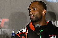 "MANCHESTER, ENGLAND, NOVEMBER 26, 2013: Jimi Manuwa is pictured at the post-fight press conference for ""UFC Fight Night 30: Machida vs. Munoz"" inside Phones4U Arena in Manchester, England (© Martin McNeil)"