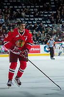KELOWNA, CANADA - APRIL 8: Caleb Jones #3 of the Portland Winterhawks skates against the Kelowna Rockets on April 8, 2017 at Prospera Place in Kelowna, British Columbia, Canada.  (Photo by Marissa Baecker/Shoot the Breeze)  *** Local Caption ***
